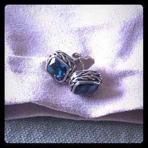 John Hardy Blue Topaz and Sterling Silver Earrings